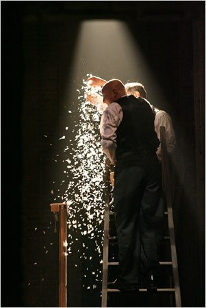 "Cliff Saunders adds snow to the final scene of ""The 39 Steps."""