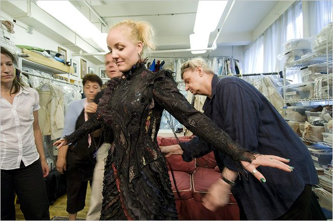 Kerry Ellis, center, who plays Elphaba in the Broadway musical